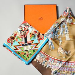 Two Hermes Scarves and Box