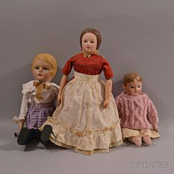 Three Martha Chase-type Painted Stockinette Dolls