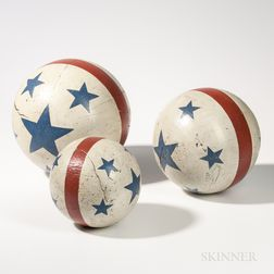 Set of Three Stars- and Stripes-painted Wooden Circus Balls