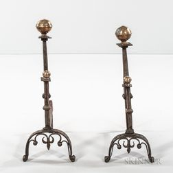 Pair of Spanish Colonial Wrought Iron and Brass Andirons