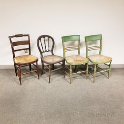 Nine Country Painted Chairs.
