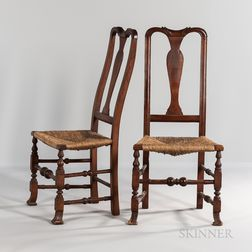 Pair of Carved Maple Spanish-foot Side Chairs
