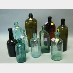 Ten Blown and Molded Colored Glass Bottles