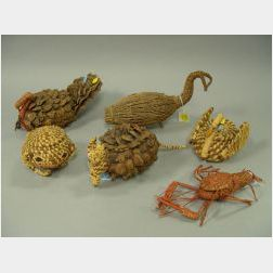 Six Cherokee and Southeastern Native American Pine Needle and Pinecone Basketry Animal Figures.