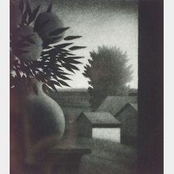 Robert Kipniss (American, b. 1931)  Vase and Landscape.