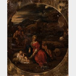 French School, 17th Century      Holy Family with Infant St. John the Baptist in a Classical Landscape, Rabbit in Foreground