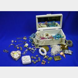 Jewelry Box of Vintage Costume Jewelry and Two Other Small Porcelain Boxes