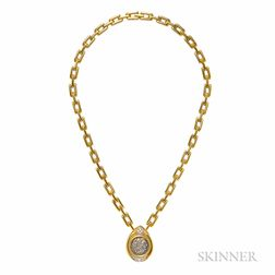 18kt Gold, Silver Coin, and Diamond Necklace