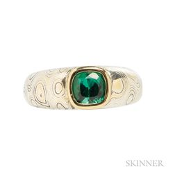 Green Tourmaline,Sterling Silver,and Gold Mokume-gane Ring, R.W. Wise