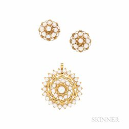14kt Gold and Cultured Pearl Pendant/Brooch and Earrings