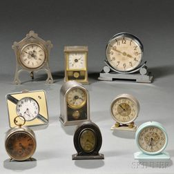 Nine Miniature American Clocks