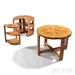 Art Deco Five-piece Burlwood Veneer Table