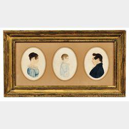 Rufus Porter (Connecticut, Massachusetts, c. 1792-1884), Miniature Profile Portraits of Three Members of the Hardwick Family: Sarah Pec