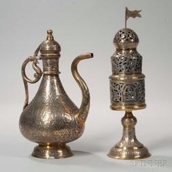 Damascene Ewer and Spice Container