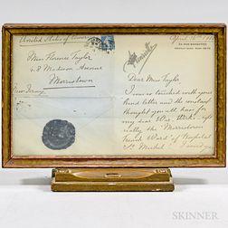 Framed Henriette, Duchess of Vendome, Princess of Belgium Letter to Florence Taylor.     Estimate $100-200