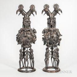 Pair of Benin-style Bronze Vessels