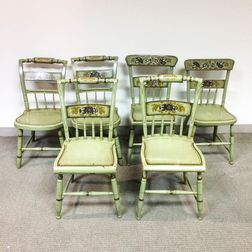 Six Green-painted and Stenciled Chairs