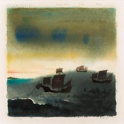 Claus Hoie (Norwegian/American, 1911-2007)      Santa Maria, Niña, and Pinta