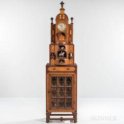 Large Layered and Inlaid Tramp Art Clock