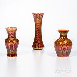 "Three Imperial Art Glass ""Lead Lustre"" Iridescent Vases"