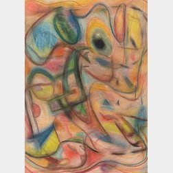 American School, 20th Century      Abstract Pastel
