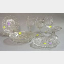 Four Lacy Glass Plates, a Bowl and a Compote, and a Set of Three New England Pineapp Pattern Glass Goblets.