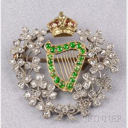 Edwardian Demantoid Garnet and Diamond Brooch