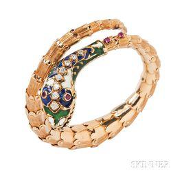 14kt Gold Snake Bracelet