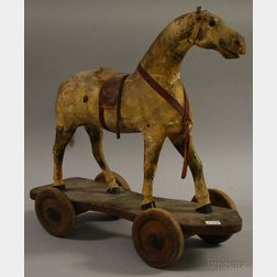 Painted Gesso and Wood Horse Pull-toy