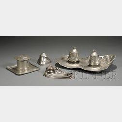 Four Metalwork Inkwells