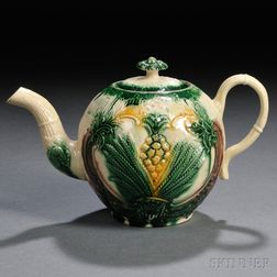 Derbyshire Cream-colored Earthenware Teapot and Cover