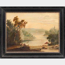 American School, 19th Century    River Landscape