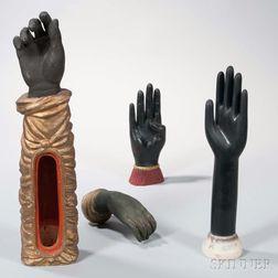 Four Black Sculptural Hands