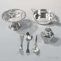 Six Pieces of Continental Silver Tableware
