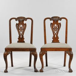 Pair of Georgian-style Carved Side Chairs