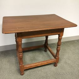 William and Mary-style Maple and Pine One-drawer Tavern Table