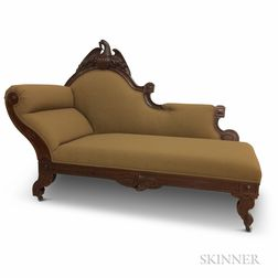 Classical Patriotic Eagle-carved and Upholstered Walnut Recamier