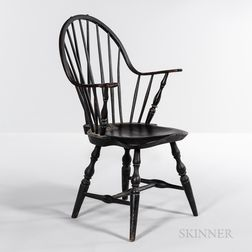 Black-painted Brace-back Continuous-arm Windsor Chair