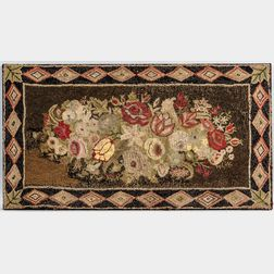 Floral Hooked and Yarn-sewn Rug