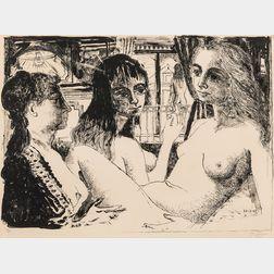 Paul Delvaux (Belgian, 1897-1994)      Les trois femmes