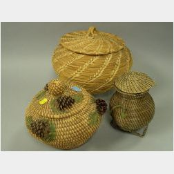 Three Contemporary Native American Pine Needle Baskets