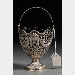 George III Silver and Cobalt Glass Sugar Basket