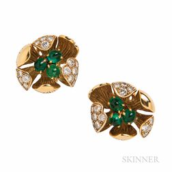 Olga Tritt 18kt Gold, Emerald, and Diamond Earclips