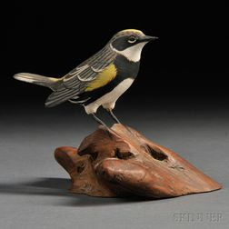 Miniature Carved and Painted Myrtle Warbler Figure