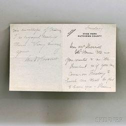Roosevelt, Sara (1854-1941) Autograph Note, Signed.