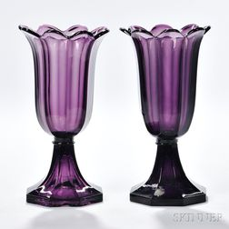 Two Amethyst Pressed Glass Tulip Vases