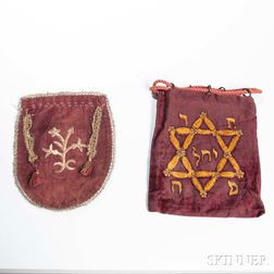 Two Embroidered Velvet Tefillin Bags and Talit Bag