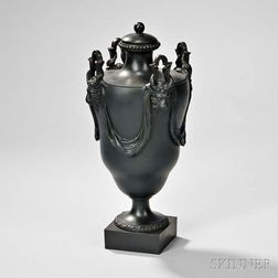 Wedgwood and Bentley Black Basalt Vase and Cover