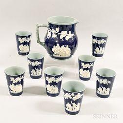 Eight Copeland Spode Ceramic Cups and a Pitcher.     Estimate $200-300