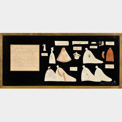 Collection of Early Paper Dolls and Accessories Framed Together